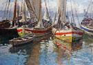 Harbour Scene - Gaetano Esposito reproduction oil painting