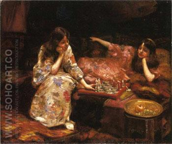 Repose a Game of Chess - Henry Siddons Mowbray reproduction oil painting