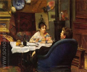 Studio Lunch c1880 - Henry Siddons Mowbray reproduction oil painting