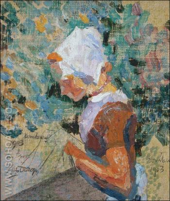 Domburg Laceworker - Jan Toorop reproduction oil painting
