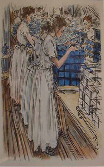 Kaarsenfabriek Gouda c1905 - Jan Toorop reproduction oil painting