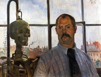 Self Portrait with Skeleton 1896 - Lovis Corinth reproduction oil painting