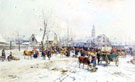 A Cattle Market in Winter - Karl Stuhlmuller reproduction oil painting