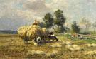 Die Heuernte am Feldesrand Bauern Bei Der Vesper - Karl Stuhlmuller