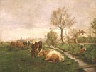 Landscape with Cows and A Stream - Karl Stuhlmuller