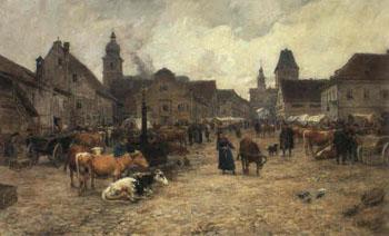 Viehmarkt Auf Dem Schrannenplatz Im Alten Dachau - Karl Stuhlmuller reproduction oil painting