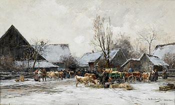 Winterlicher Viehmarkt In Bayern - Karl Stuhlmuller reproduction oil painting