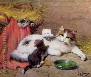 Cat with kittens - Leon Charles Huber reproduction oil painting
