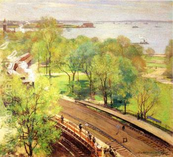 Battery Park Spring 1902 - Willard Leroy Metcalfe reproduction oil painting