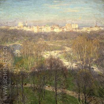 Early Spring Afternoon Central Park 1911 - Willard Leroy Metcalfe reproduction oil painting