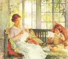 My Wife and Daughter c1917 - Willard Leroy Metcalfe reproduction oil painting