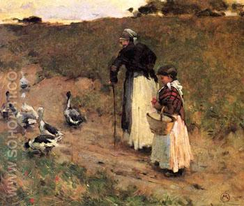 Old Woman with Child and Goose 1885 - Willard Leroy Metcalfe reproduction oil painting