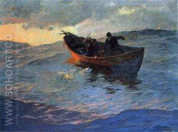 On the Suffolk Coast 1885 - Willard Leroy Metcalfe reproduction oil painting