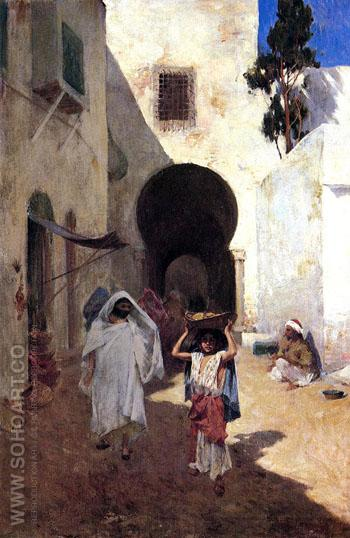 Street Scene Tangiers 1887 - Willard Leroy Metcalfe reproduction oil painting