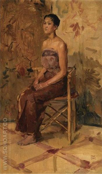 A Portrait of A Seated Javanese Beauty - Isaac Israels reproduction oil painting