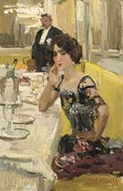 A Table au Restaurant le Perroquet Paris - Isaac Israels reproduction oil painting