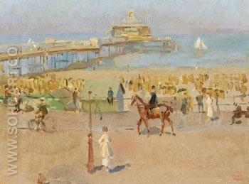A View of the Pier in Scheveningen - Isaac Israels reproduction oil painting