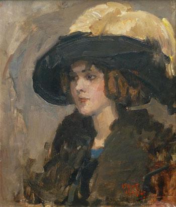 Damen Met Hoed - Isaac Israels reproduction oil painting