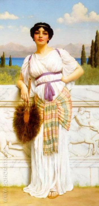A Greek Beauty 1905 - John William Godward reproduction oil painting