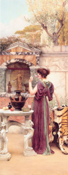 At The Garden Shrine Pompeii - John William Godward reproduction oil painting