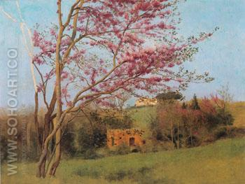 Landscape Blossoming Red Almond Study c1912 - John William Godward reproduction oil painting