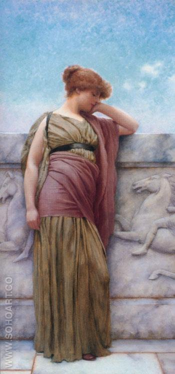 Leaning on the Balcony 1892 - John William Godward reproduction oil painting