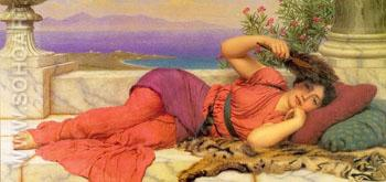 Noonday Rest - John William Godward reproduction oil painting