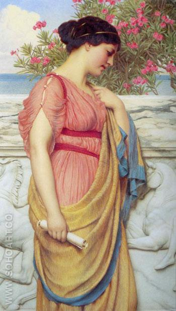 Sappho 1910 - John William Godward reproduction oil painting