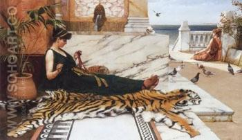 Sewing Girl - John William Godward reproduction oil painting
