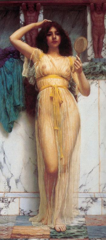 The Mirror 1899 - John William Godward reproduction oil painting