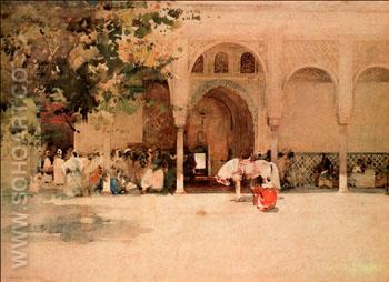 Waiting for the Sultan Morocco - Arthur Melville reproduction oil painting