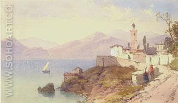 Coast of Genoa 1861 - Charles Rowbotham reproduction oil painting