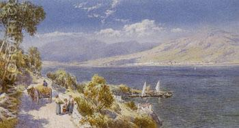 Lake Como with Bellagio in the Distance - Charles Rowbotham reproduction oil painting
