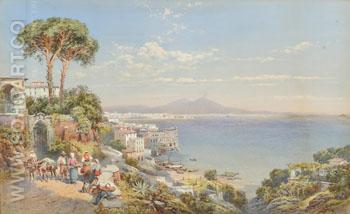 The Bay of Naples with Figures and Donkeys 1892 - Charles Rowbotham reproduction oil painting