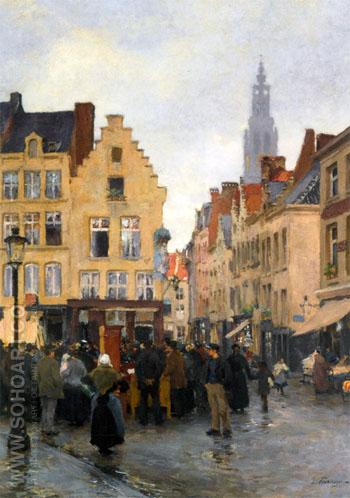 A Busy Market in Antwerp c1885 - Edgard Farasyn reproduction oil painting
