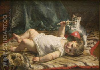 Infant and Kitten - Edgard Farasyn reproduction oil painting