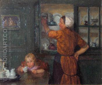 Interior with Fishermans Wife and Child - Edgard Farasyn reproduction oil painting