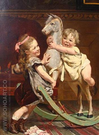 The Rocking Horse 1878 - Edgard Farasyn reproduction oil painting