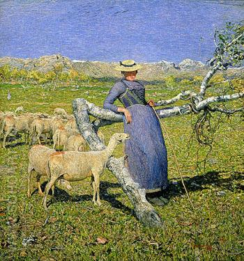 Afternoon in the Alps - Giovanni Segantini reproduction oil painting