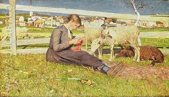 A Girl Knitting - Giovanni Segantini reproduction oil painting