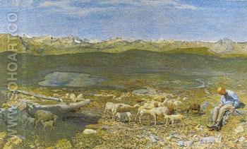 Alpine Pascoli c1893 - Giovanni Segantini reproduction oil painting