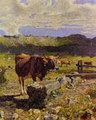 Brown Cow in the Waterhole - Giovanni Segantini