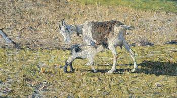 Goat with Offspring 1890 - Giovanni Segantini reproduction oil painting