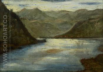 Lago di Lecco c1875 - Giovanni Segantini reproduction oil painting