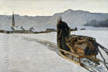 Return from The Woods 1890 - Giovanni Segantini reproduction oil painting