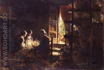 The Gathering of Silkworm Cocoons 1882 - Giovanni Segantini reproduction oil painting