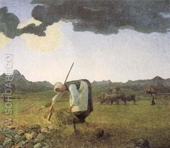The Hay Harvest - Giovanni Segantini reproduction oil painting