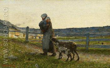 The Two Mothers 1891 - Giovanni Segantini reproduction oil painting
