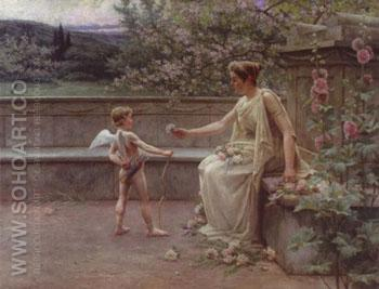 Aphrodite Presenting A Rose to Cupid - Henri Houben reproduction oil painting