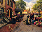 Flowermarket in Monnickendam - Henri Houben reproduction oil painting